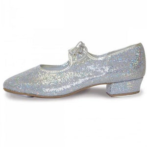 Roch Valley Silver Hologram Low Heel Tap Shoes