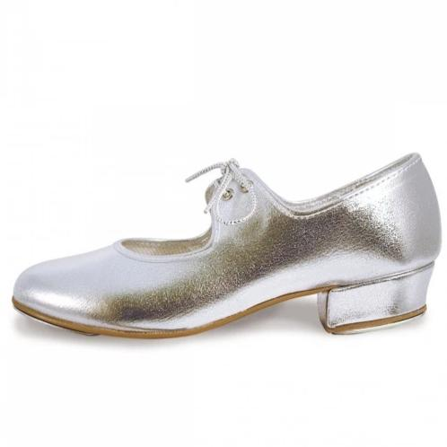 Roch Valley Silver Low Heel PU Tap Shoe