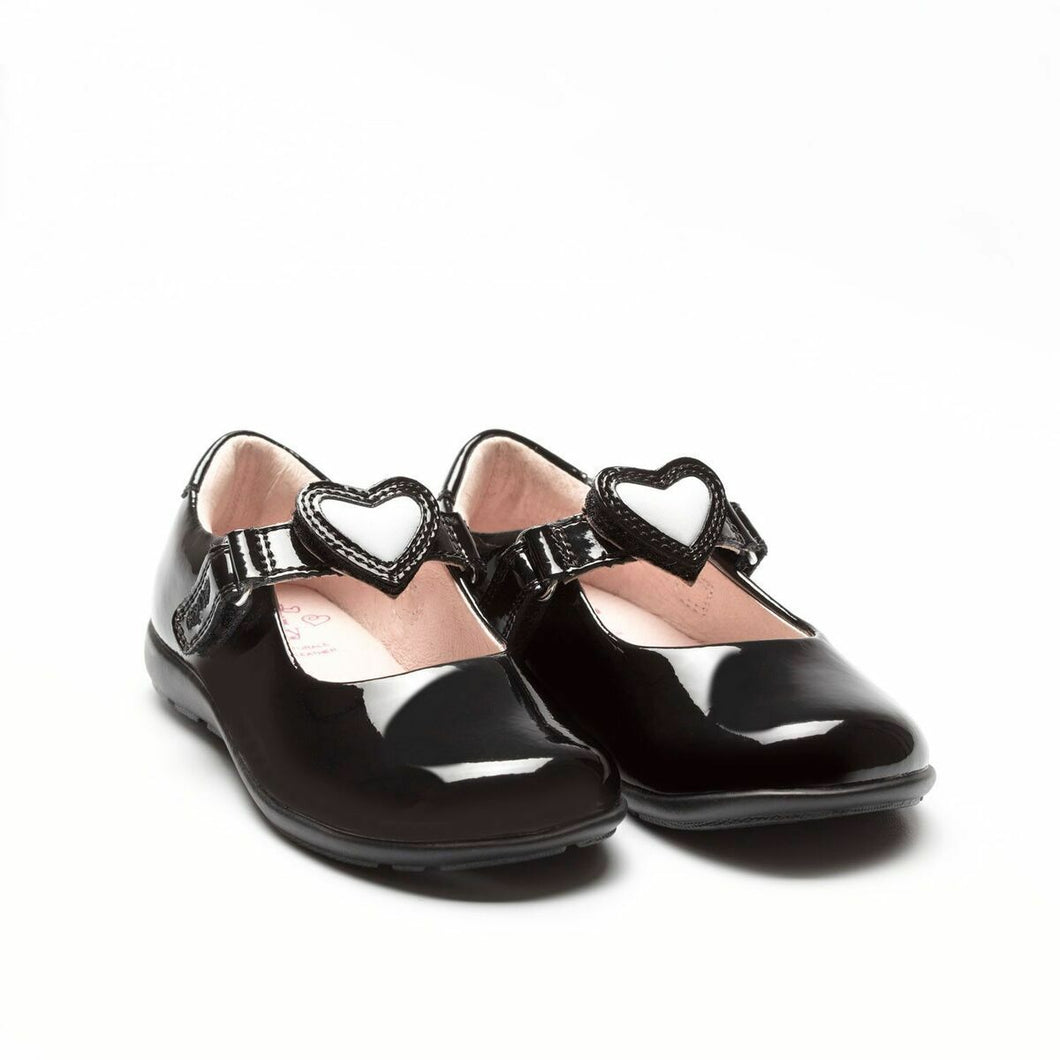 Lelli Kelly COLOURISSIMA HEARTS Girl's Black Patent School Shoe LK8840 G Fitting