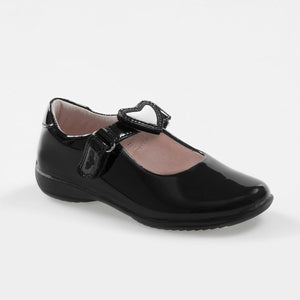 Lelli Kelly COLOURISSIMA HEARTS Girl's Black Patent Dolly School Shoe LK8400 F Fitting