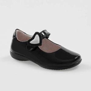 Lelli Kelly COLOURISSIMA HEARTS Girl's Black Patent Dolly School Shoe LK8500 F Fitting