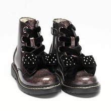 Load image into Gallery viewer, Lelli Kelly FIOR DI FOCCO Pewter Glitter Bow Boots LK6522