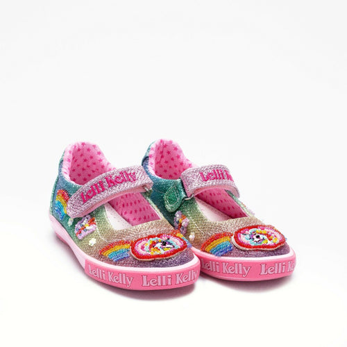 Lelli Kelly RAINBOW SPARKLE Multi Glitter Canvas Dolly Shoe LK9070