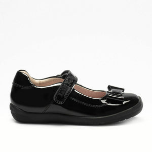 Lelli Kelly ELSA Black Patent School Shoe With Protective Bumper LK8262 F Fitting