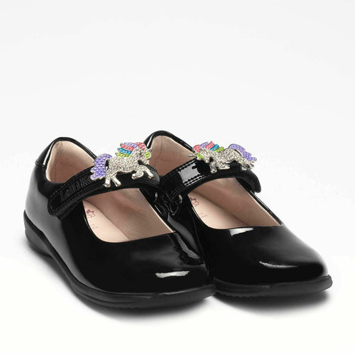 Lelli Kelly BLOSSOM 2 Unicorn Black Patent School Shoe LK8213 F Fitting