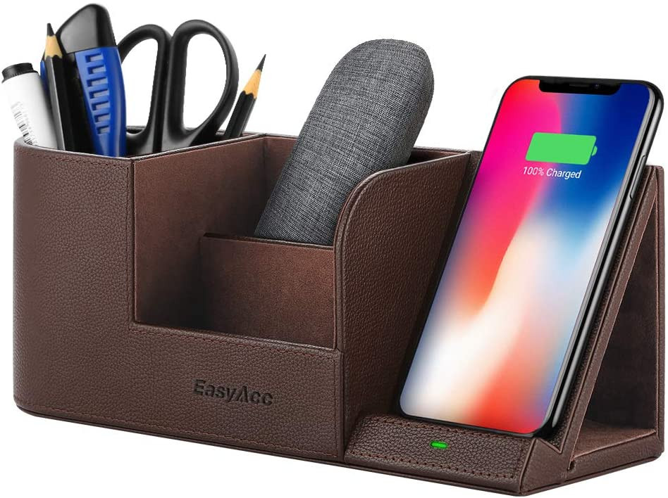 EasyAcc Qi-Certified Wireless Charging Stand with Multi-Device Organizer - Brown