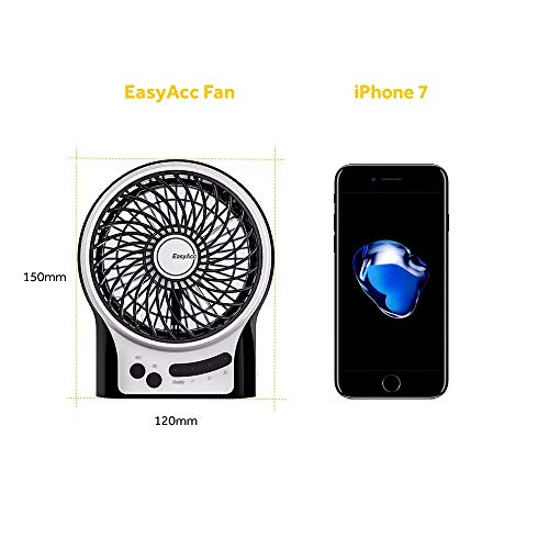 EasyAcc Mini Rechargeable Fan with 2600mAh Battery - Black