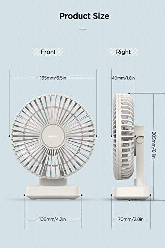 EasyAcc 90° Adjustable USB Desk Fan - White