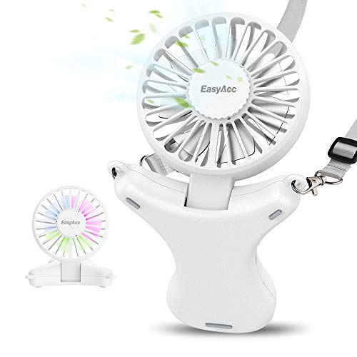 EasyAcc 3350mAh Adjustable Necklace Fan -White