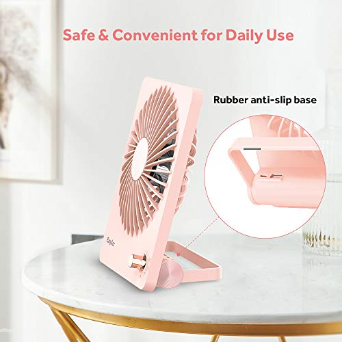 EasyAcc Desk Mini Fan with 2600mAh Portable Rechargeable Battery for Camping Library Office Cars - Pink