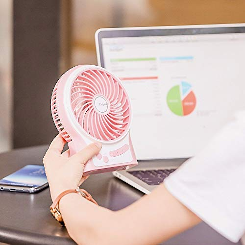 EasyAcc Mini Rechargeable Fan with 2600mAh Battery - Pink