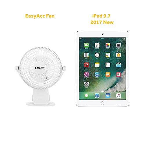 EasyAcc 720° Rotation Desk USB Clip Fan - White