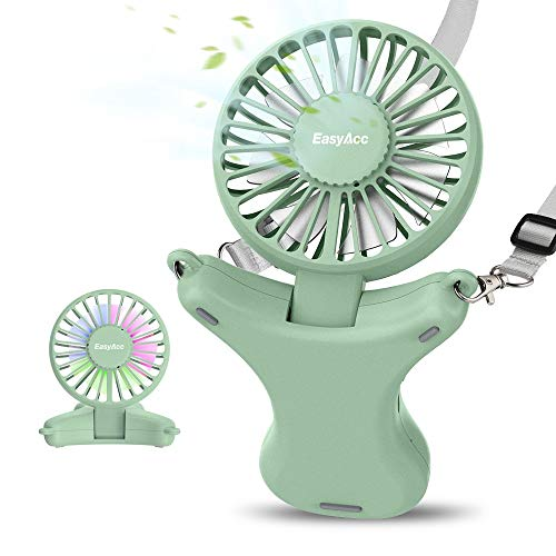 EasyAcc 3350mAh Adjustable Necklace Fan -Green