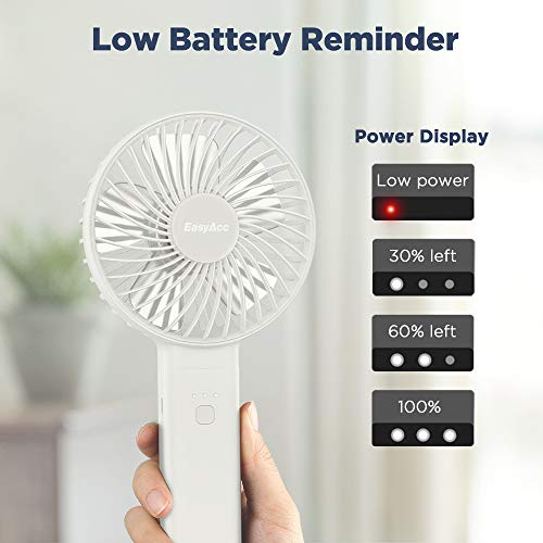 EasyAcc 3350mAh 2020 Upgraded Handheld Fan -White