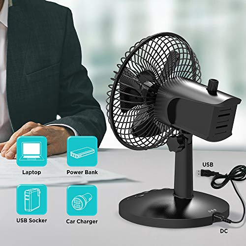 EasyAcc 5200mAh Battery Desk Fan for Office Table Outdoor Travel BBQ Camping - Black