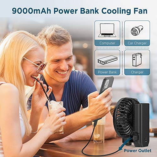 EasyAcc 9000mAh 2020 Upgraded Handheld Fan - Black