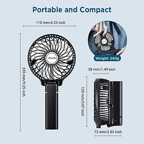 EasyAcc Handheld Electric USB Fans with 2600mAh USB Rechargeable Battery