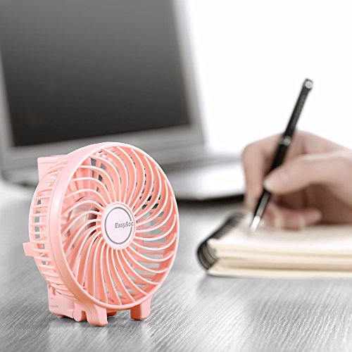 EasyAcc Handheld Fan with rechargeable 2600mAh Li-ion battery - Pink