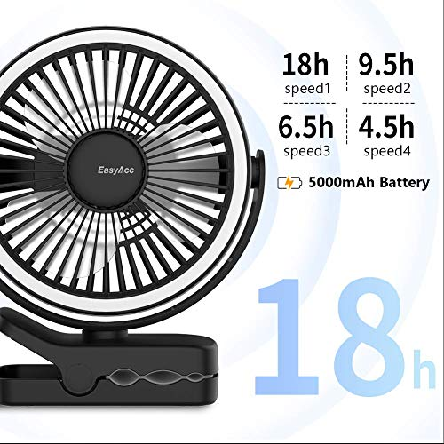 EasyAcc 5000mAh Battery Camping Fan with LED Lights