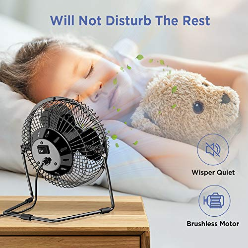EasyAcc 6 Inch Mini USB Desktop Metal Fan