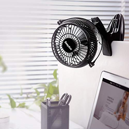 EasyAcc 720° Rotation Desk USB Clip Fan - Black