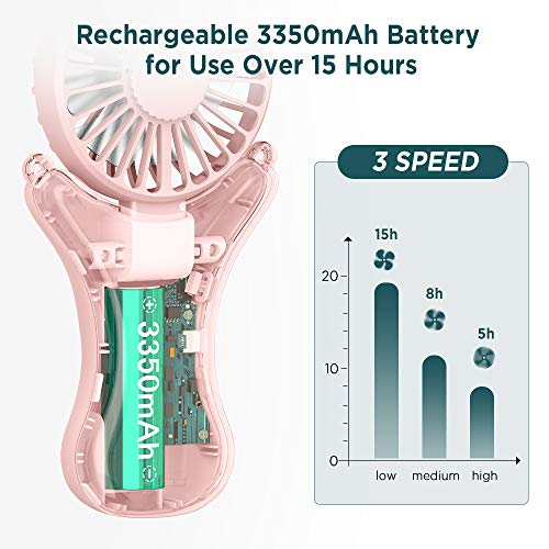 EasyAcc 3350mAh Adjustable Necklace Fan -Pink