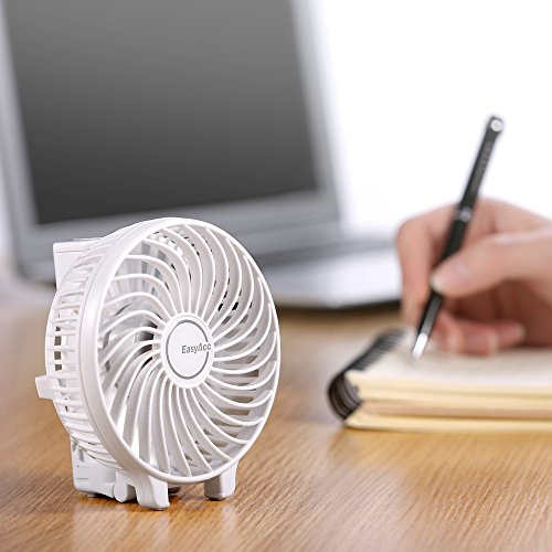 EasyAcc Handheld Fan with rechargeable 2600mAh Li-ion battery - White