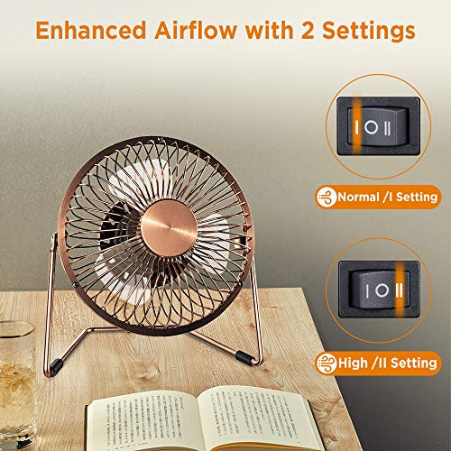 [Upgrade Version] EasyAcc 2-speed Adjustable Mini USB Desktop Metal Fan - 5 inch