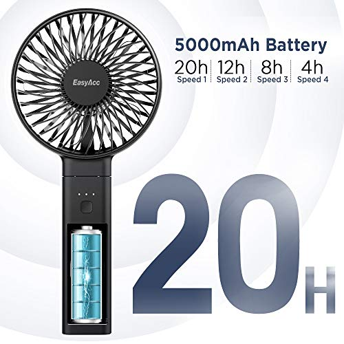 EasyAcc 5000mAh 2020 Upgraded Handheld Fan -Black
