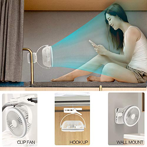 EasyAcc 6700mAh Battery Camping Fan with LED Lights -White