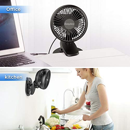 EasyAcc Mini Clip USB Desktop Fan for Prams Pushchairs Strollers Buggies Offices - Black