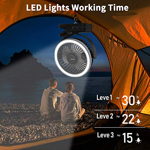 EasyAcc 6700mAh Battery Camping Fan with LED Lights