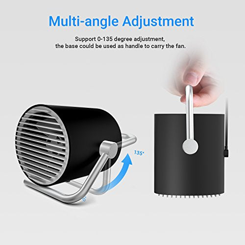 EasyAcc Small Personal USB Fan -Black