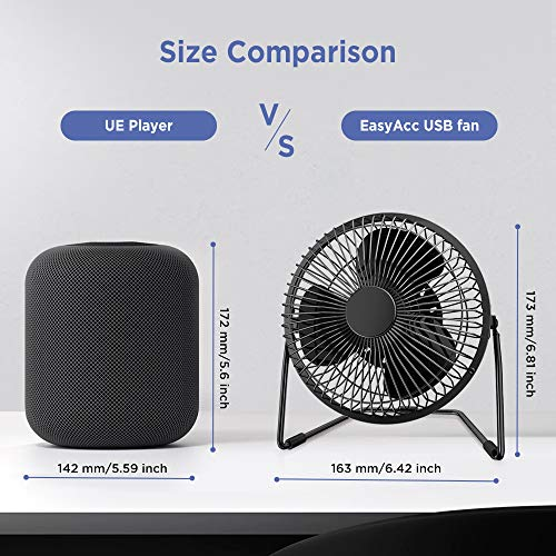 EasyAcc 5 Inch Desktop USB Fan - Black