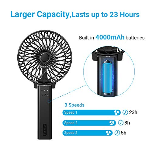 EasyAcc Mini Handheld USB fan 4000mAh Rechargeable Battery for Stroller Travel Office Outdoor - Black