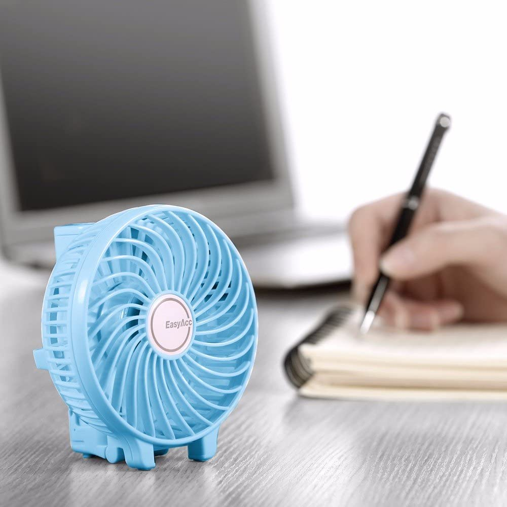 EasyAcc Handheld Fan with rechargeable 2600mAh Li-ion battery - Blue