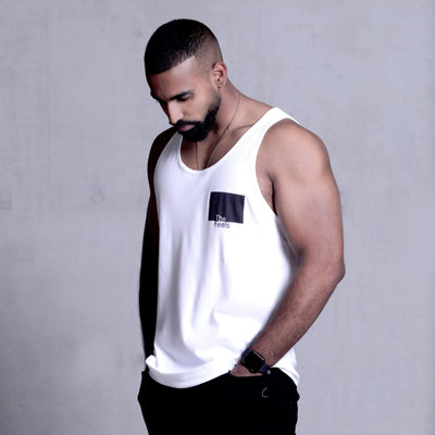 drake look a like modelling wearing Supreme Mens White Muscle Singlet with ying yang design showing off his muscles