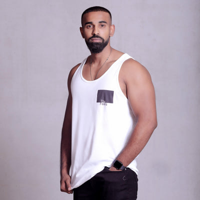 drake look a like modelling wearing a Supreme Mens White Muscle Singlet with a ying yang design showing off his muscles