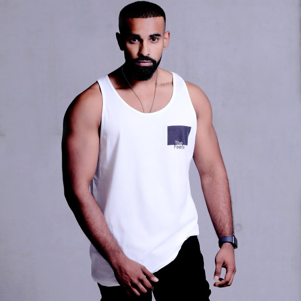 drake look a like modelling wearing Supreme Mens White Muscle Singlet with a ying yang design showing off his muscles