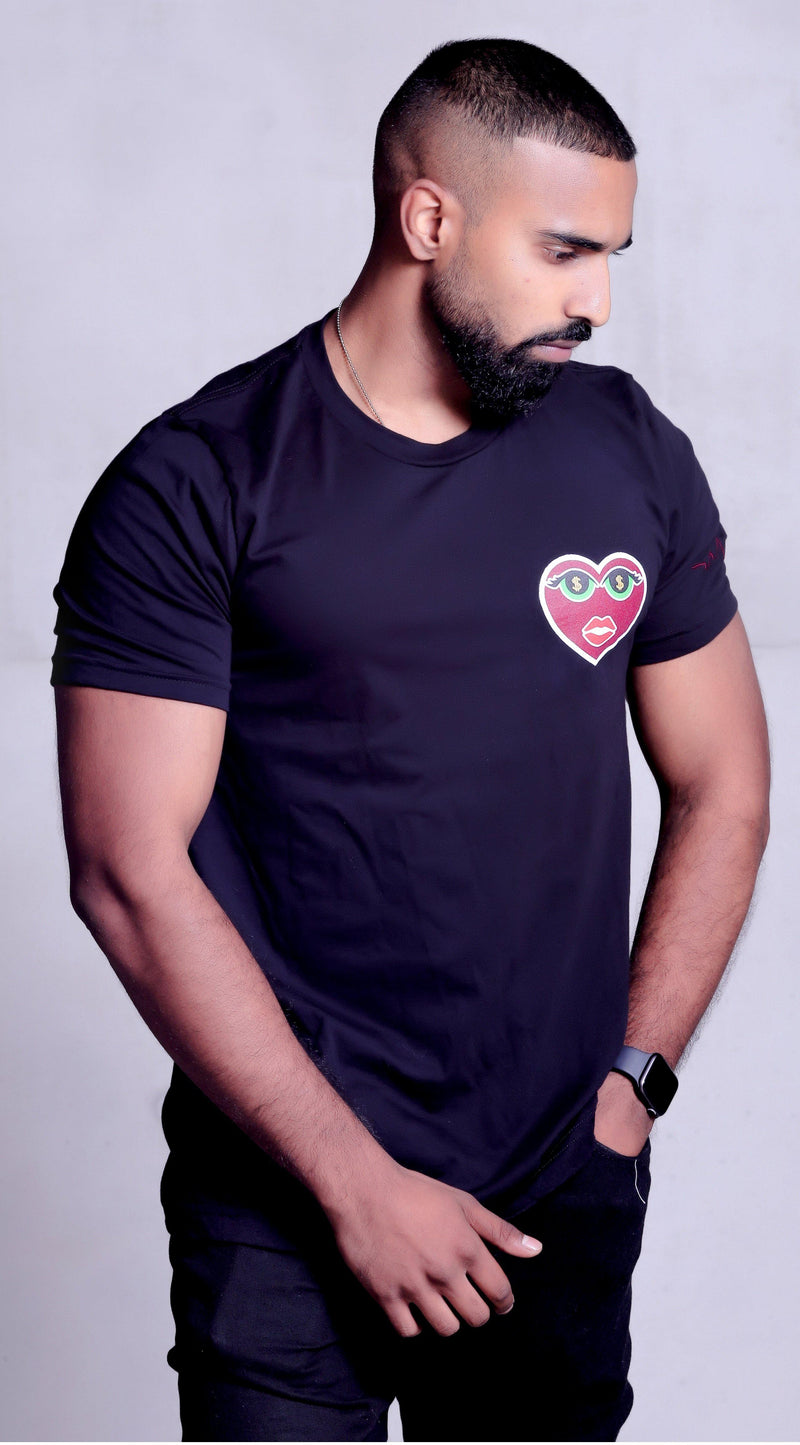 Model is wearing Unisex Money Eyes Black T-shirt showing off his muscles
