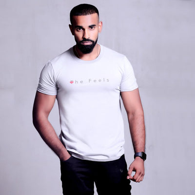 Handsome drake look a like modelling wearing Mens Short Sleeve Casual T-shirt in grey showing off his muscles