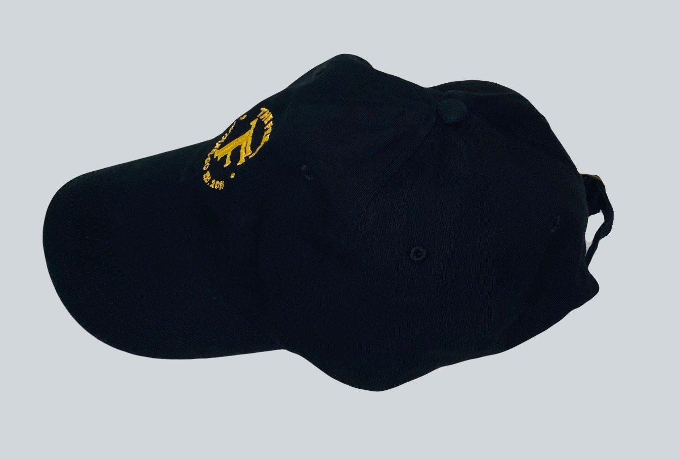 Photo of Supreme Black Hat Embroidered Logo with yellow embroidered emblem