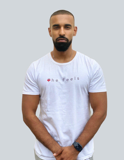 Handsome drake look a like modelling wearing Mens Short Sleeve Casual T-shirt in white showing off his muscles