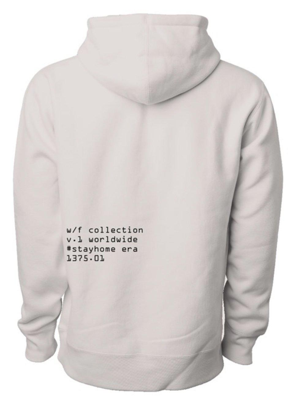 White Embroidered Fleece Hoodie with black print on lower left back side