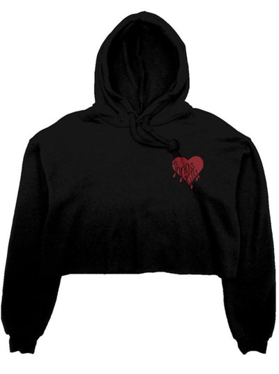 Supreme Black Embroidered Love Heart Crop Fleece Hoodie pictured on a plain white background
