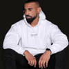 Handsome drake look a like modelling wearing Supreme White Heartbeat Fleece Hoodie and black ksubi jeans to match