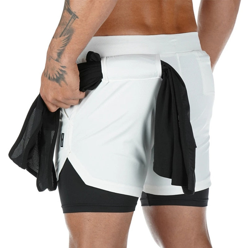 Mens Iron City Double Layer Jogger 2 in 1 Shorts Fitness Built-in pocket
