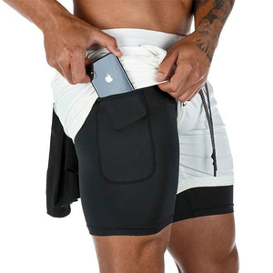 Open image in slideshow, Mens Iron City Double Layer Jogger 2 in 1 Shorts Fitness Built-in pocket