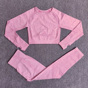 Open image in slideshow, 2/3/5 PCS Women Seamless Booty Sportswear Long Sleeve Crop Top High Waist Leggings