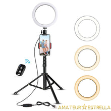 "Load image into Gallery viewer, Estrella 8"" ring light with tripod & phone holder"